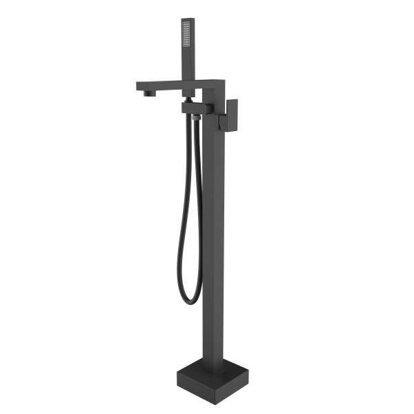 Смеситель для ванны STURM Platz Black напольный в комплекте ручной душ, шланг, встраиваемая часть, чёрный матовый ST-PLA-80155-BM