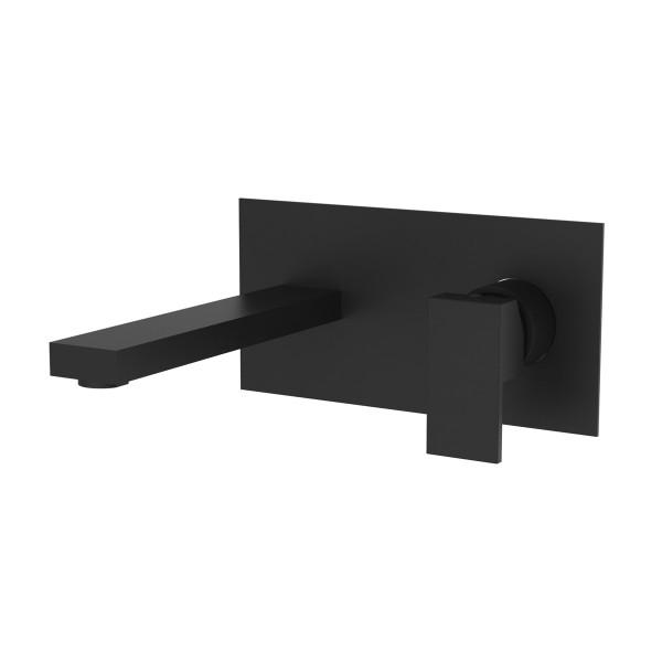 Смеситель для раковины STURM Platz Black настенный на пластине на 2 отверстия с донным клапаном click-clack со встраиваемой частью, чёрный матовый ST-PLA-80316-BM