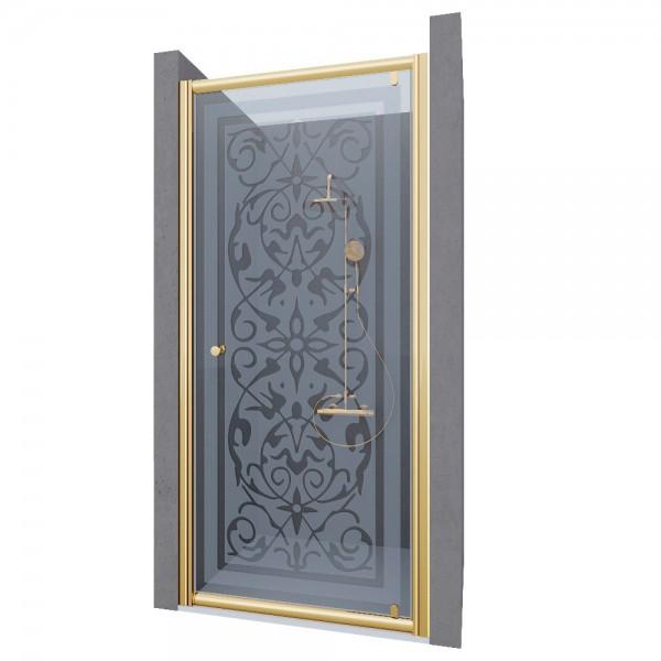 Душевая дверь в нишу STURM Puerta 900x1900 стекла с декором. Золото ST-PUER09-ND2GL