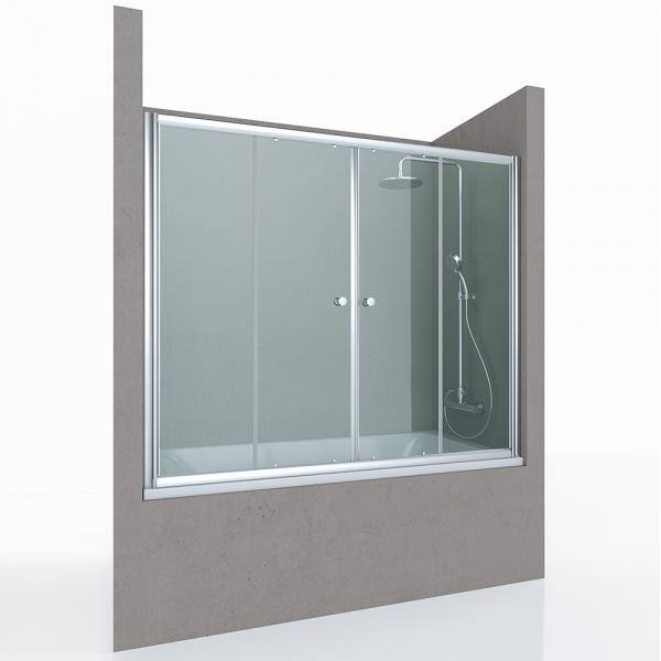 Шторка на ванну STURM Regen, 148-153x140 см, двустворчатая раздвижная, прозрачные стекла, хром, ST-REGE15-NTRCR-NEW