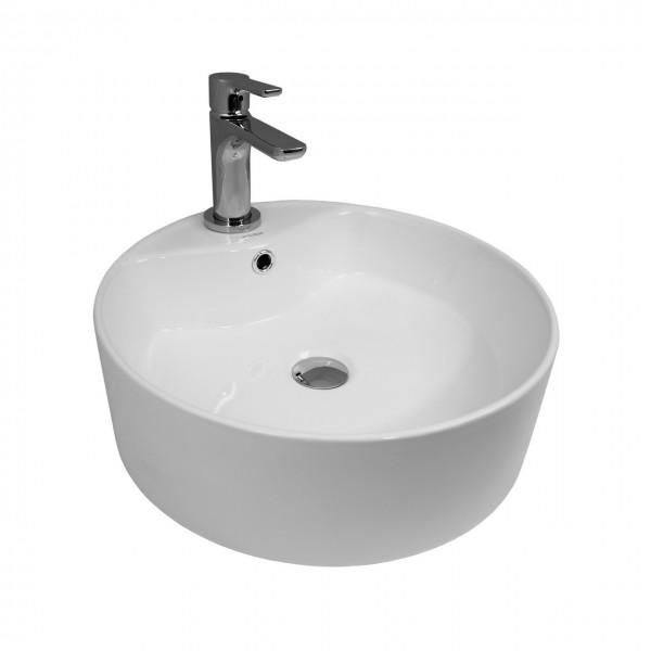 Раковина накладная STURM Rio round, D=47 см, круглая, 1 отв. под смеситель, перелив, белая, ST-RIOR474716-TBNCR