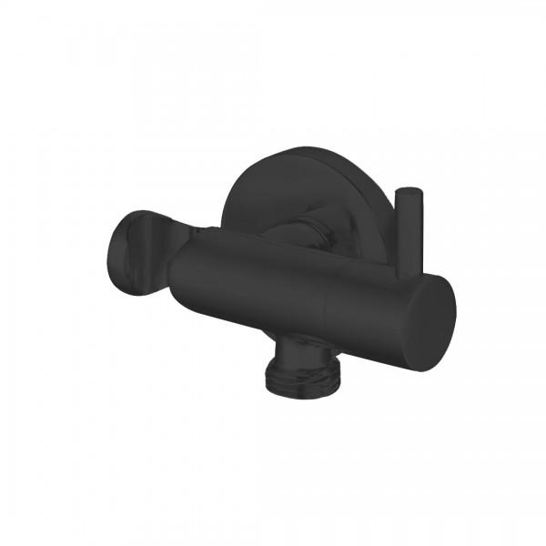 Запорный вентиль STURM Universal фланец d=50 мм с держателем-подсоединением для ручного душа, черный матовый ST-UN9256-BM
