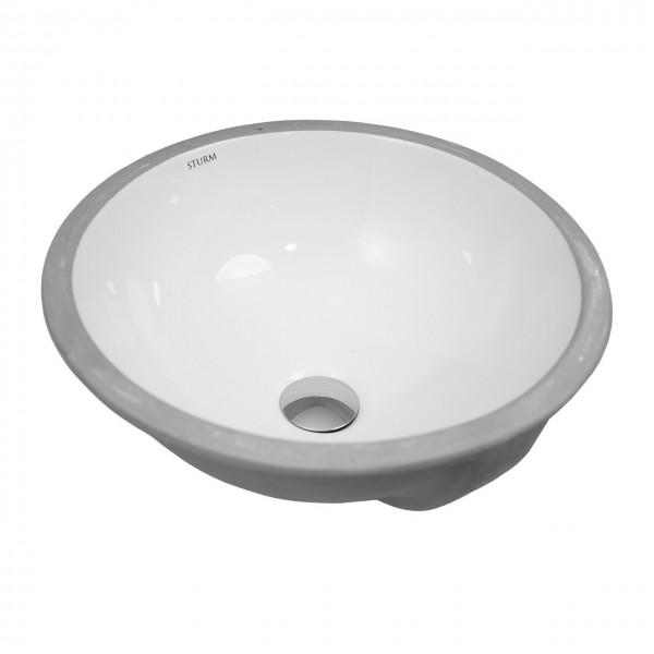 Раковина встраиваемая снизу STURM Vita-U, D=38 см, круглая, перелив, белая, ST-VIU383818-NBNCR
