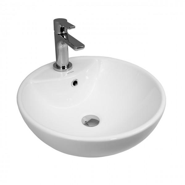 Раковина накладная STURM Vita, D=46 см, круглая,  1 отв. под смеситель, перелив, белая, ST-VIW464617-TBNCR