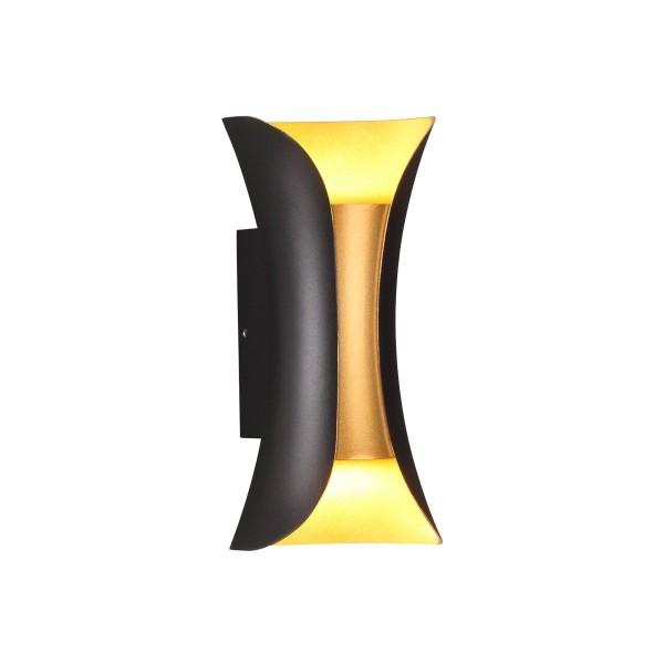 Светильник настенный STURM Flame, светодиодный L100P90H200 (LED 6W 4000K 350lm IP54), черный/золото, STL-FLA033886