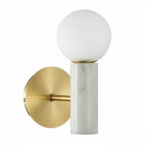 Светильник настенный STURM Gres, 12х20х23 см, металл/мрамор, 1*G9 3W max, белый/золото, STL-GRE064883
