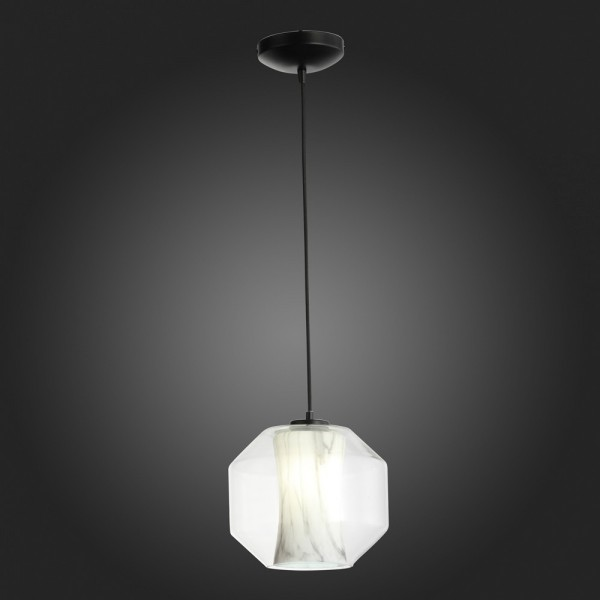 Светильник подвесной STURM Marble, 24х20/100 см, 1*E27 60W max, металл/акрил, черный/прозрачный, STL-MAR046622