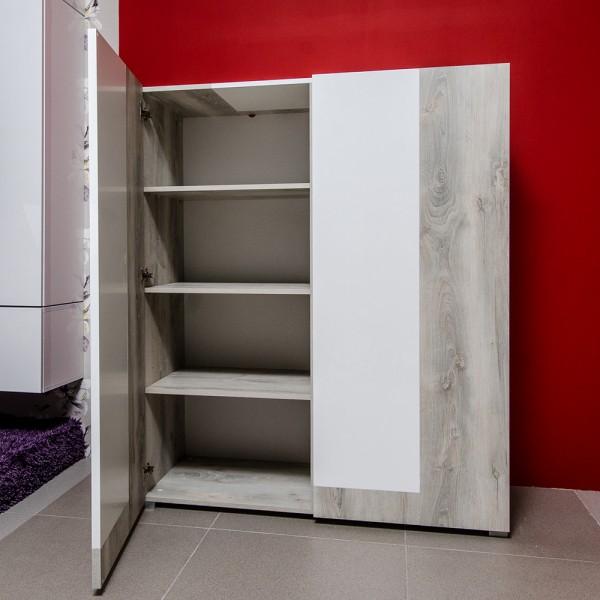 Шкаф-сервант STURM Style 1190x510x1430, цвет белый глянцевый - белая сосна CSTY11901