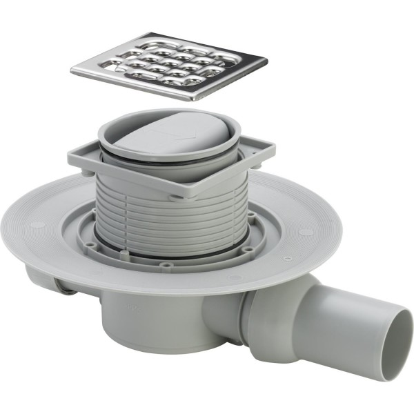 Комплект: Душевой трап STURM SVG  с решеткой 100х100, сухим затвором и сифоном SVG-ADV60248-CR