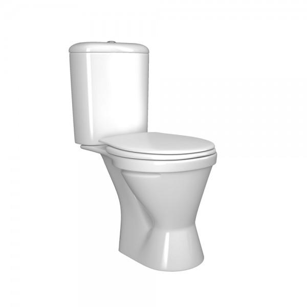 Унитаз-компакт Zero с косым выпуском, бачок с одинарным механизмом смыва, сиденье с микролифтом, белый/хром, ZCL16070-CR