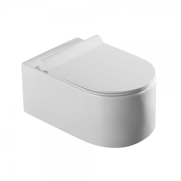 Унитаз подвесной STURM Mono New безободковый с сиденьем тонким с микролифтом, белый SW-MO14057-CR NEW