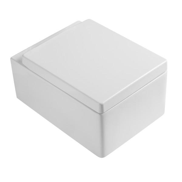Унитаз подвесной STURM Quad 520x390x350 мм с сиденьем с микролифтом, белый/хром SW-QU37057-CR