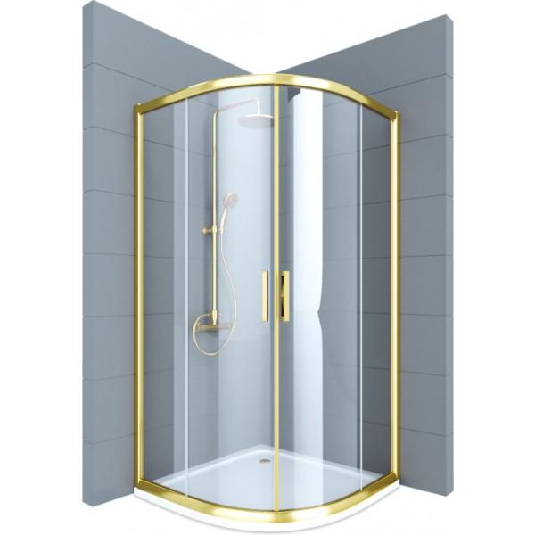 Душевое ограждение STURM Vivien 1000x1000x1950 1/4 круга прозрачные стекла. Золото LUX-VIVI1010-NTRGL